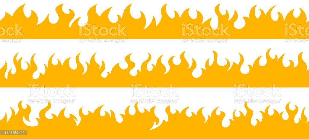 Bordures de cadre de flamme de feu - clipart vectoriel de Art libre de droits