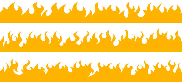 Fire flame frame borders Cartoon fire flame frame borders. Seamless orange fire border flame stock illustrations