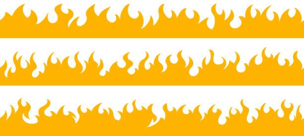 bildbanksillustrationer, clip art samt tecknat material och ikoner med brand flamma ram gränser - flames