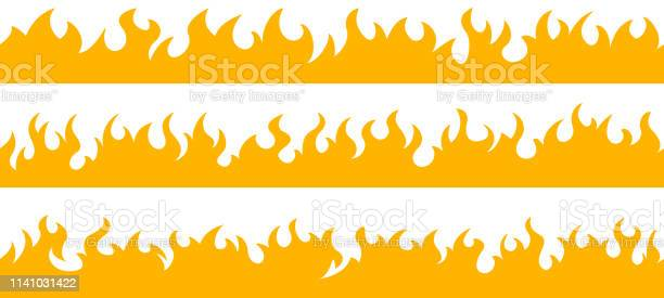 Bordures De Cadre De Flamme De Feu Vecteurs libres de droits et plus d'images vectorielles de Art