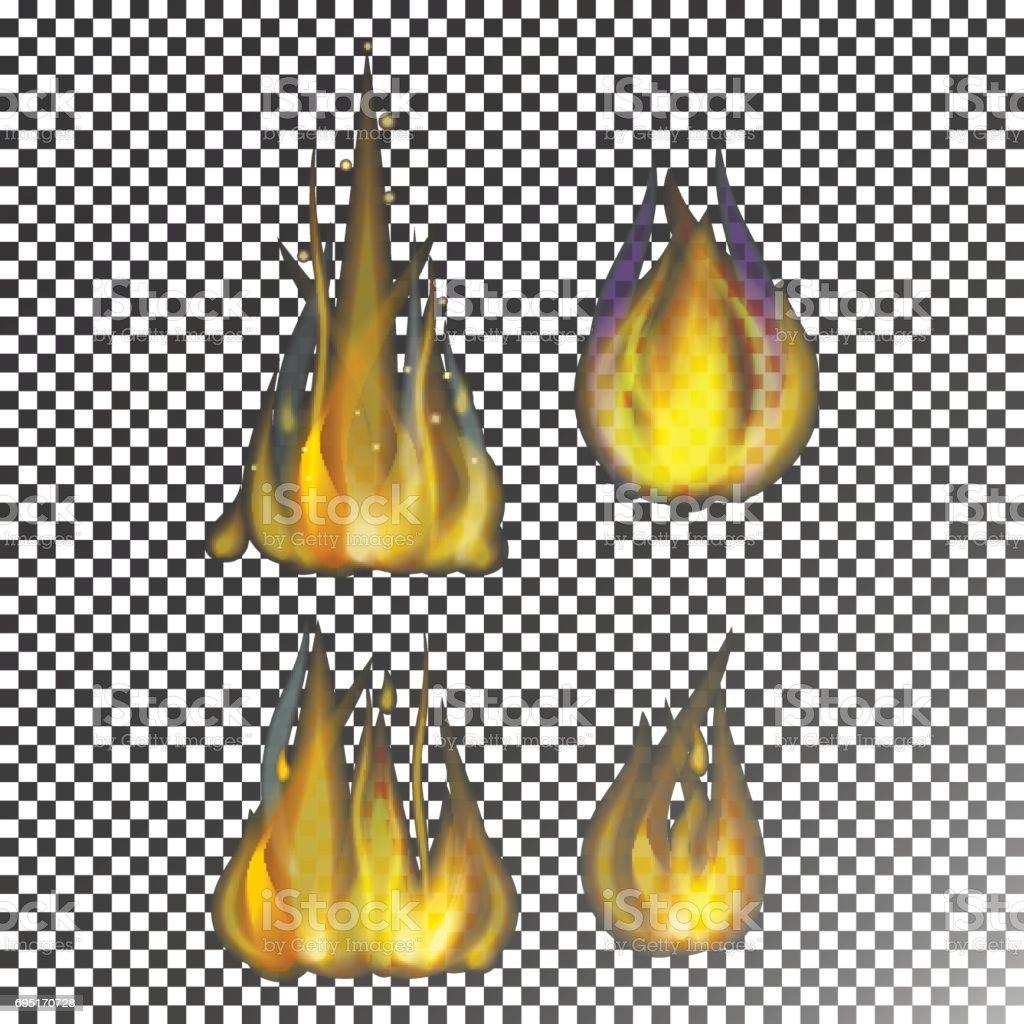 Llama de fuego caliente quema vector icono peligro caliente y cocina luz amarilla hoguera ardiente fogata - ilustración de arte vectorial