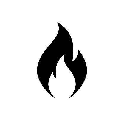 Fire flame icon. Black, minimalist icon isolated on white background.