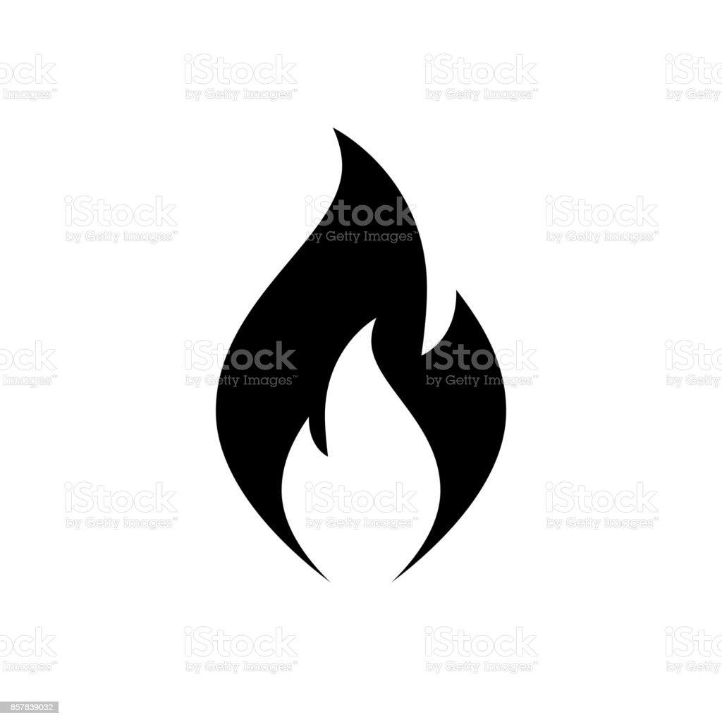 Ícone de chamas de fogo. Ícone negro, minimalista, isolado no fundo branco. - ilustração de arte em vetor