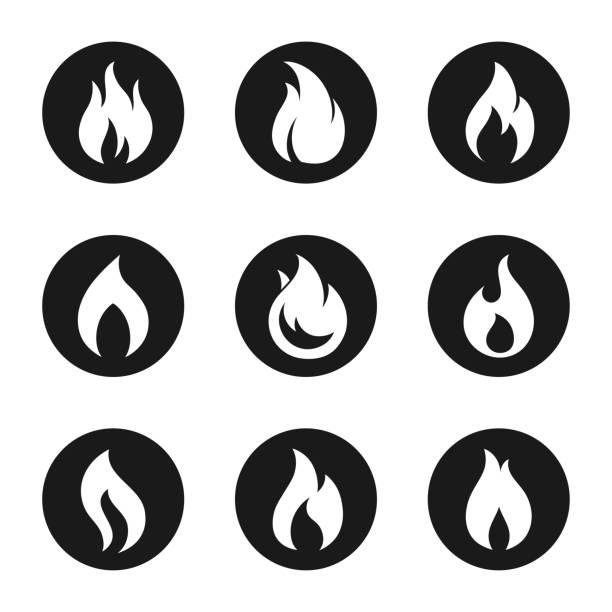 feuer flamme symbolsatz taste - feuer stock-grafiken, -clipart, -cartoons und -symbole
