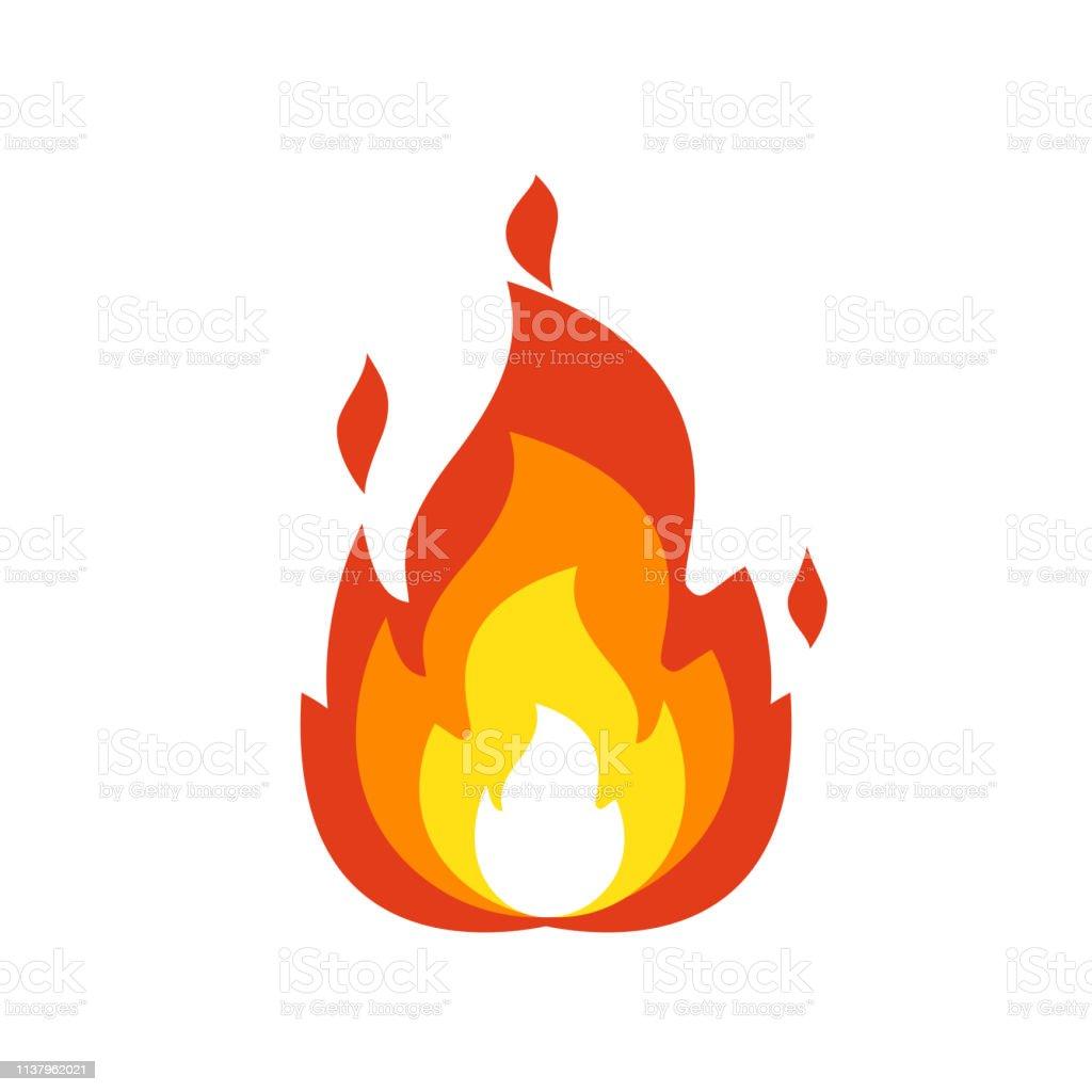 Icône de flamme de feu. Signe de feu de joie isolé, symbole de flamme émoticône isolé sur fond blanc, illustration de feu Emoji et logo - clipart vectoriel de Allumer libre de droits