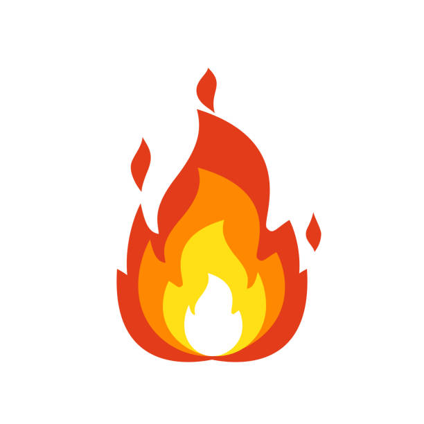 Fire flame icon. Isolated bonfire sign, emoticon flame symbol isolated on white, fire emoji and logo illustration Fire flame icon. Isolated bonfire sign, emoticon flame symbol isolated on white, fire emoji and logo vector illustration shooting a weapon stock illustrations