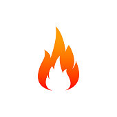 Fire flame icon. Oil, gas and energy concept and hot food. Flat design, vector illustration on background.