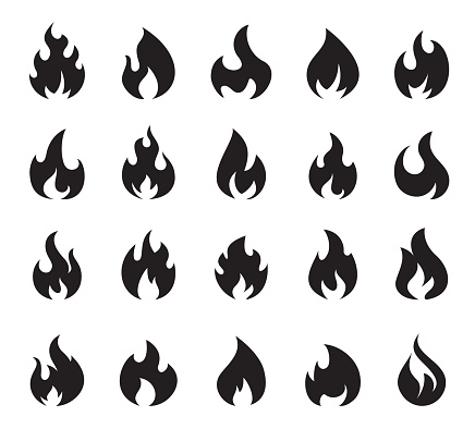 Fire Flame Icon Set Symbol of Fire