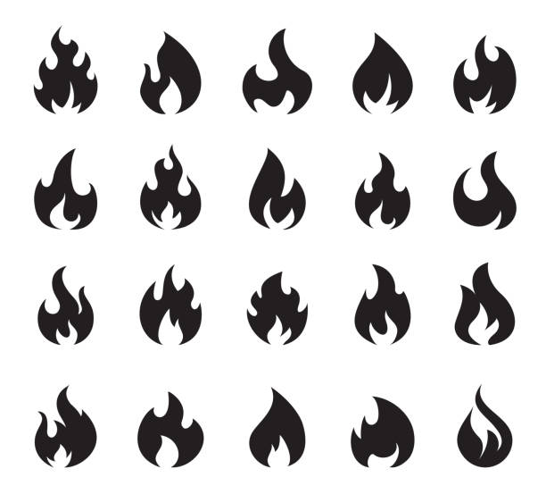 Fire Flame Icon Set Symbol of Fire Vector illustration of the fire flame icon set symbol of fire on white background. fire stock illustrations