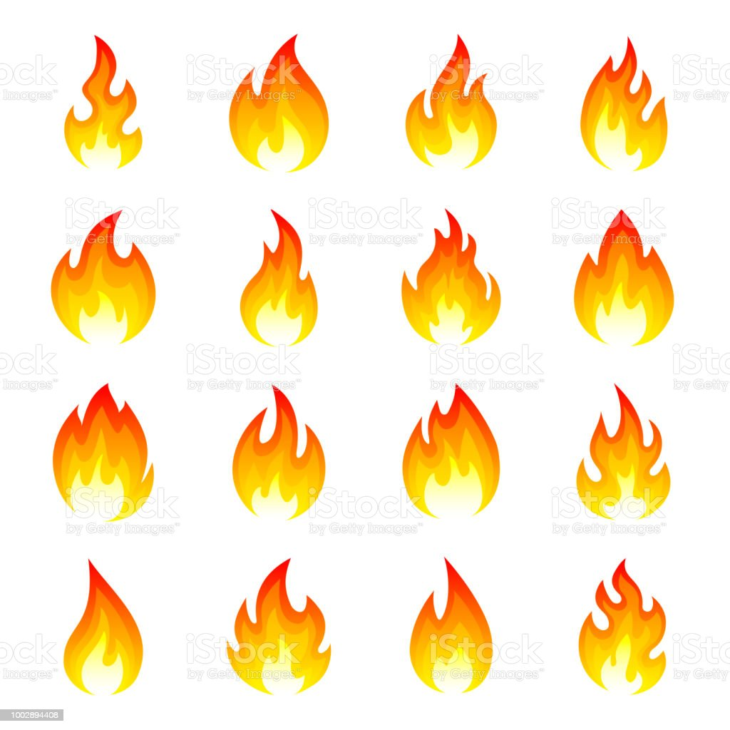 Feuer Flammen Vektorset Auf Schwarzem Hintergrund Isoliert Stock Vektor Art  und mehr Bilder von ClipArt - iStock