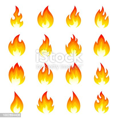 Fire flame icon set. Bright red glowing gaseous part of a fire, hot flames. Vector flat style cartoon illustration isolated on white background
