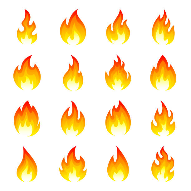 Fire flame icon set Fire flame icon set. Bright red glowing gaseous part of a fire, hot flames. Vector flat style cartoon illustration isolated on white background flame stock illustrations