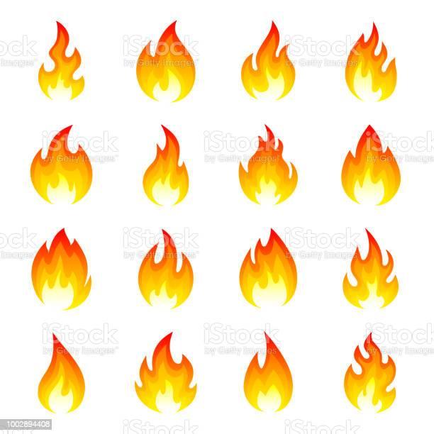 Elden Flamma Ikonuppsättning-vektorgrafik och fler bilder på Antända