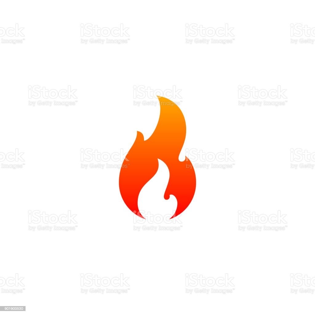Fire Flame Icon Vector Template Hot Red Orange Fire Flame For