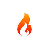 Fire flame icon vector template. Hot red orange fire flame for caution hot or spicy food, for oil, gas and energy concept. Vector flat symbol design