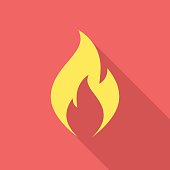Fire flame icon with long shadow. Flat design style. Fire flame silhouette. Simple icon. Modern flat icon in stylish colors. Web site page and mobile app design vector element.