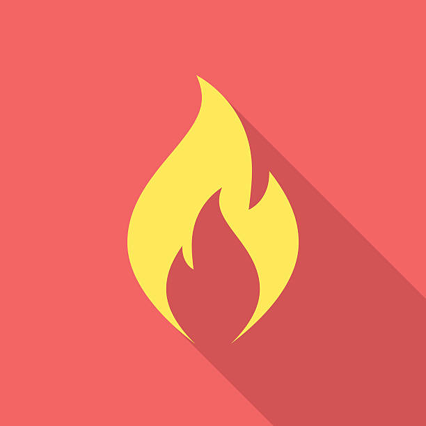 fire flame icon with long shadow. - feuer stock-grafiken, -clipart, -cartoons und -symbole