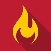 istock Fire flame icon with shadow - Vector 875885016