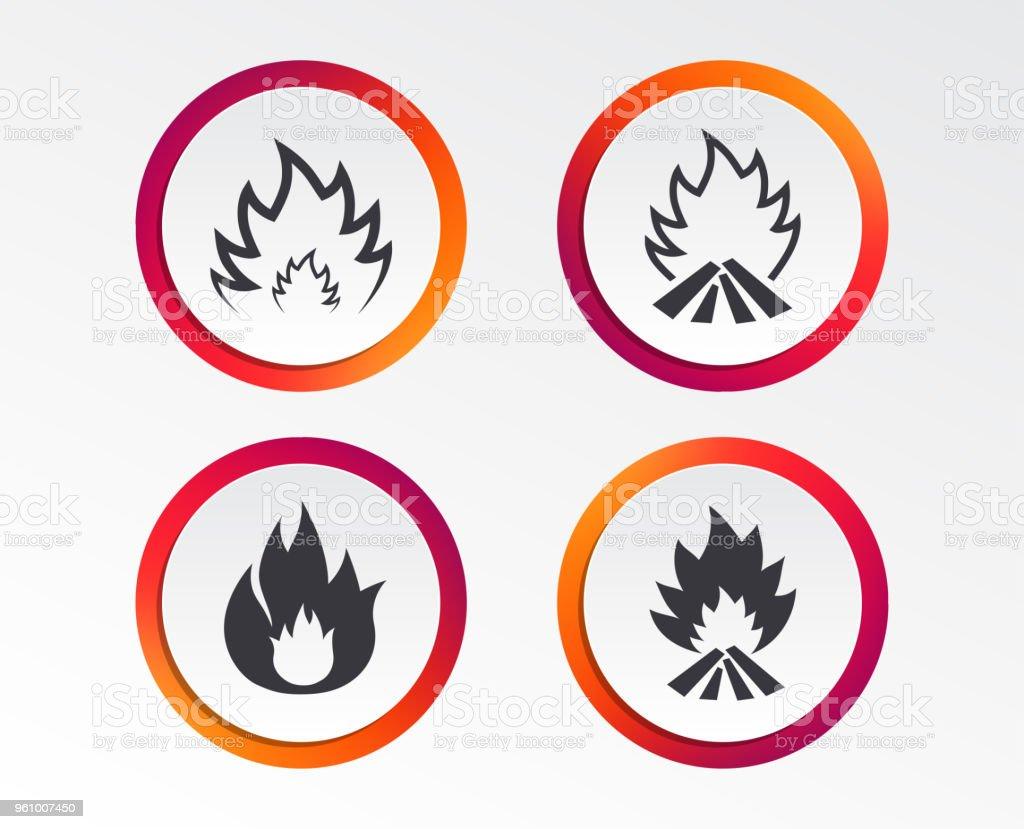 Feuer Flamme-icons. Heat Beschilderung. - Lizenzfrei Abzeichen Vektorgrafik