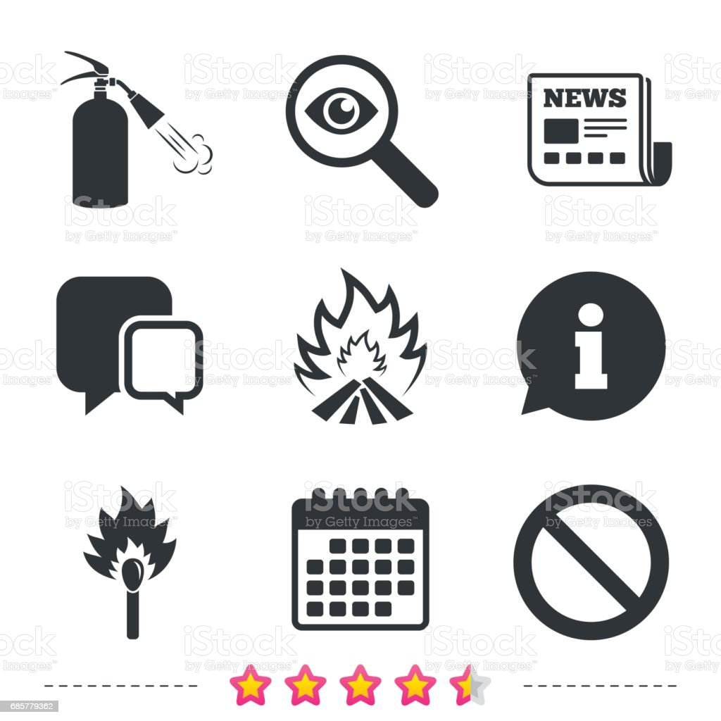 Fire flame icons. Prohibition stop symbol. royalty-free fire flame icons prohibition stop symbol stock vector art & more images of badge