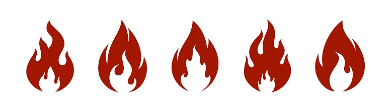 Fire flame icons set.