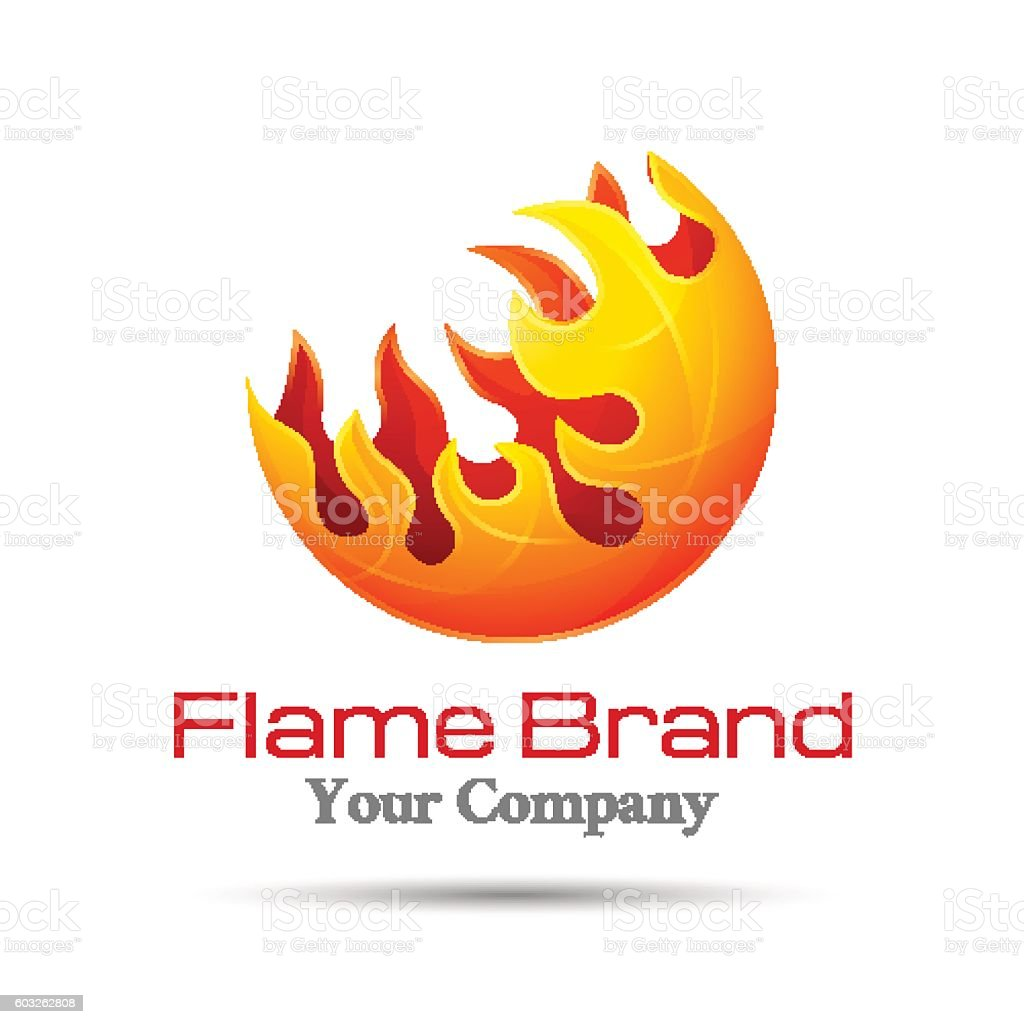 fire flame logo design vector template burn elegant bonfire logotype