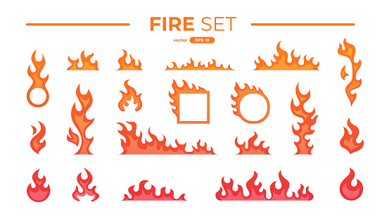 Fire flame set isolated. Icons. Flat style vector illustration. Flame, fire, torch, campfire. Cute cartoon design. Orange and yellow colors. Realistic template.