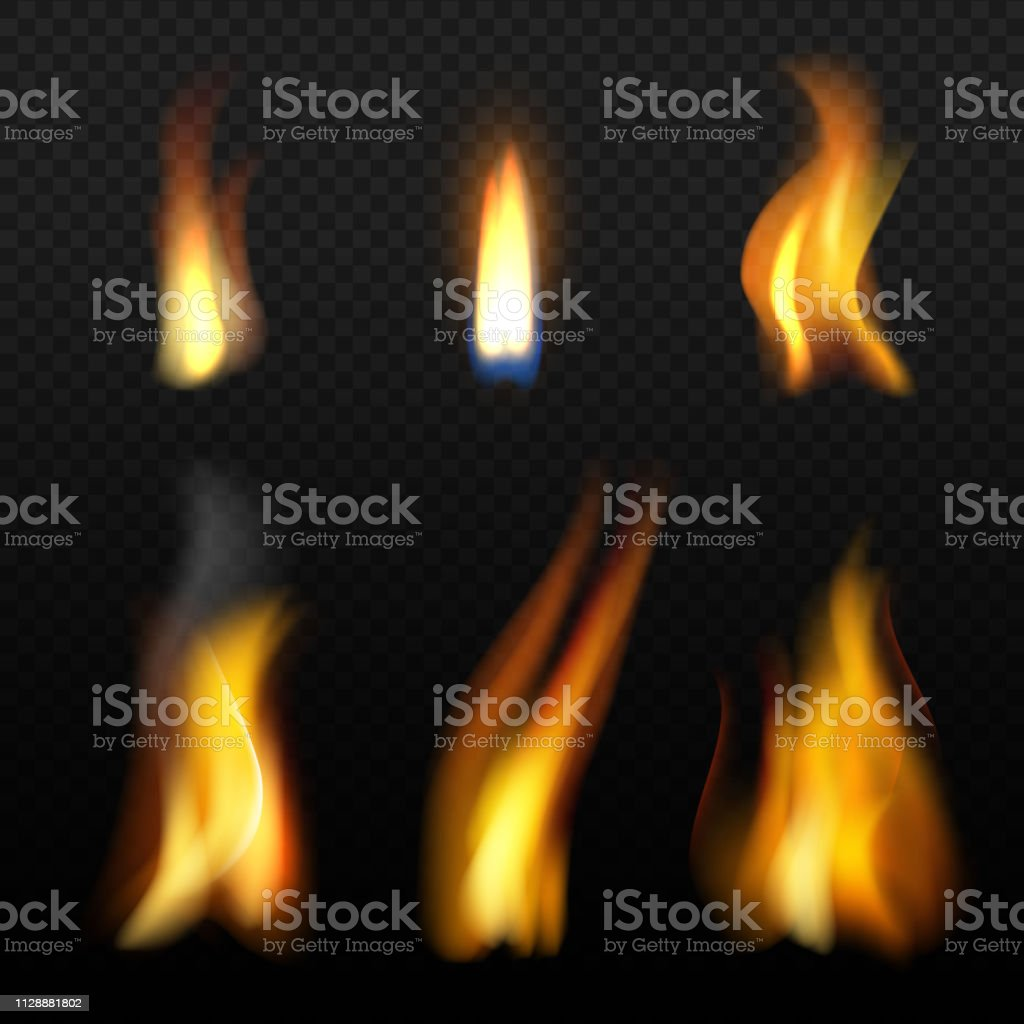 Fire flame template. Realistic fuego effects candlelight with orange smoke vector realistic isolation