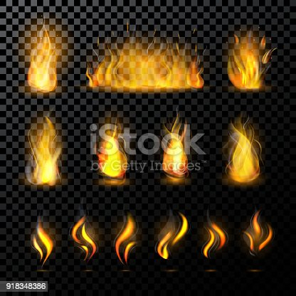 istock Fire flame vector fired flaming bonfire in fireplace and flammable campfire illustration fiery or flamy set with wildfire isolated on transparent background 918348386