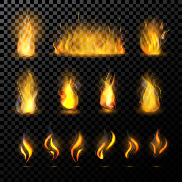 Fire flame vector fired flaming bonfire in fireplace and flammable campfire illustration fiery or flamy set with wildfire isolated on transparent background Fire flame vector fired flaming bonfire in fireplace and flammable campfire illustration fiery or flamy set with wildfire isolated on transparent background. shooting a weapon stock illustrations