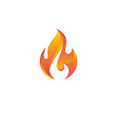 Fire flame vector icon.