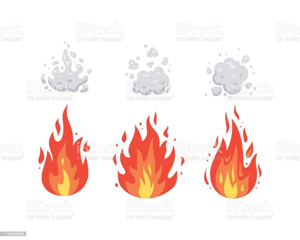 Graphismes De Vecteur De Flamme De Feu Dans Le Modele De Dessin