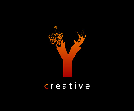 Fire Flame Y Letter Icon Design.