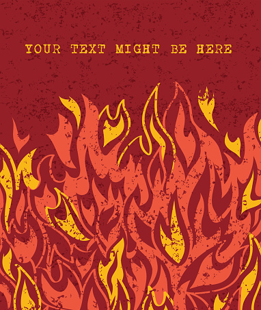 Fire flames banner with space for text on red background