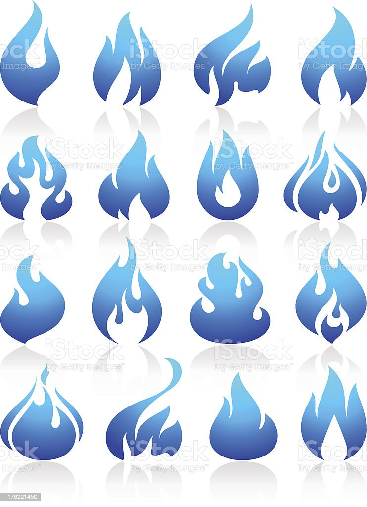 Fire flames blue, set icons vector art illustration