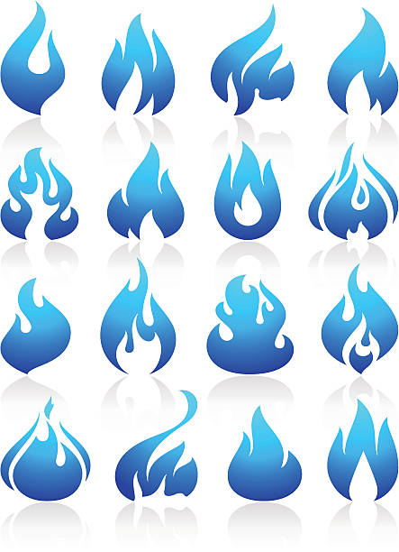 Fire flames blue, set icons vector art illustration