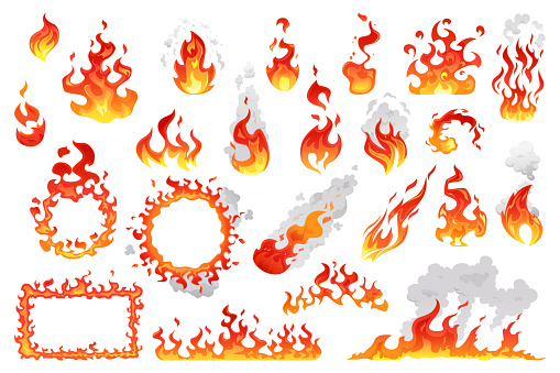 Fire flames, bright fireball, cartoon campfire heat isolated icons set. Vector wildfire and red hot bonfire, animated flame in circle with smoke. Sparkling ignite, furious flammable fiery combustion