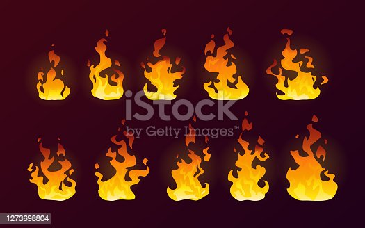 Fire flames burning icons, isolated cartoon flat set on vector background. Realistic dire flames of campfire or red fiery hot explosion and torch with smoke effect, abstract flame of orange red blaze