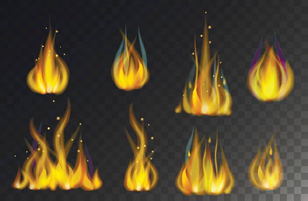 ilustrações de stock, clip art, desenhos animados e ícones de coleção de chamas de fogo isolado num fundo escuro vector - burned cooking