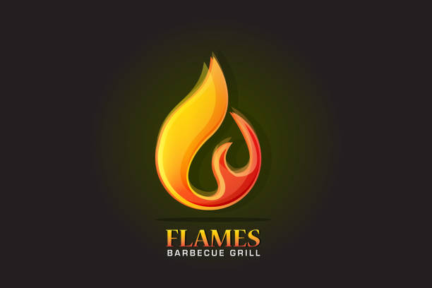 ilustrações de stock, clip art, desenhos animados e ícones de fire flames icon logo - burned cooking