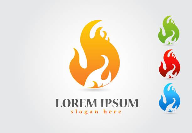 ilustrações de stock, clip art, desenhos animados e ícones de fire flames icon set collection - burned cooking