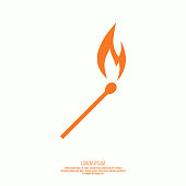 Burning match. Fire flames. Icon. vector logo design template.