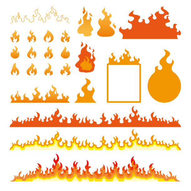 Fire flames icons set isolated on white vector illustration Fire flames icons set isolated on white vector illustration flame stock illustrations