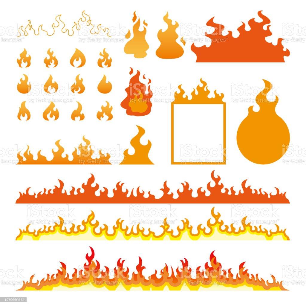Chamas de fogo conjunto de ícones isolado na ilustração vetorial branco - ilustração de arte em vetor