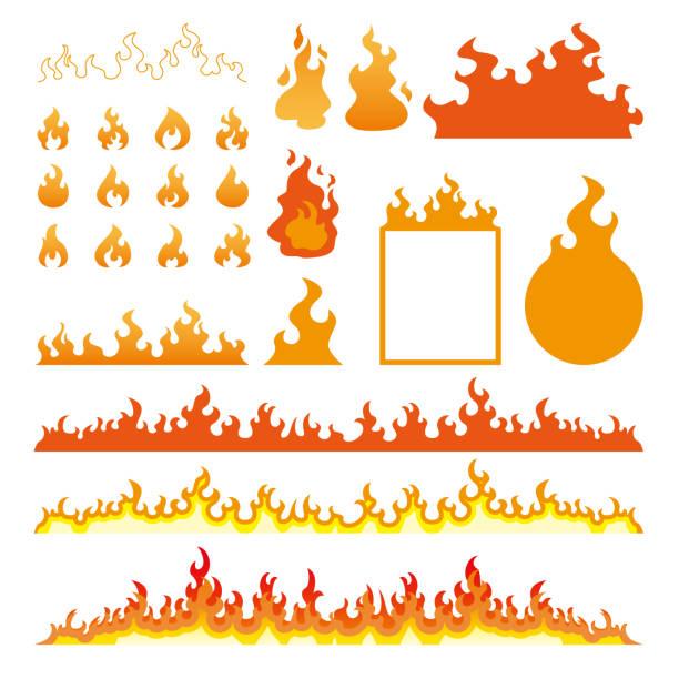 bildbanksillustrationer, clip art samt tecknat material och ikoner med elden flammar ikoner set isolerad på vit vektorillustration - flames
