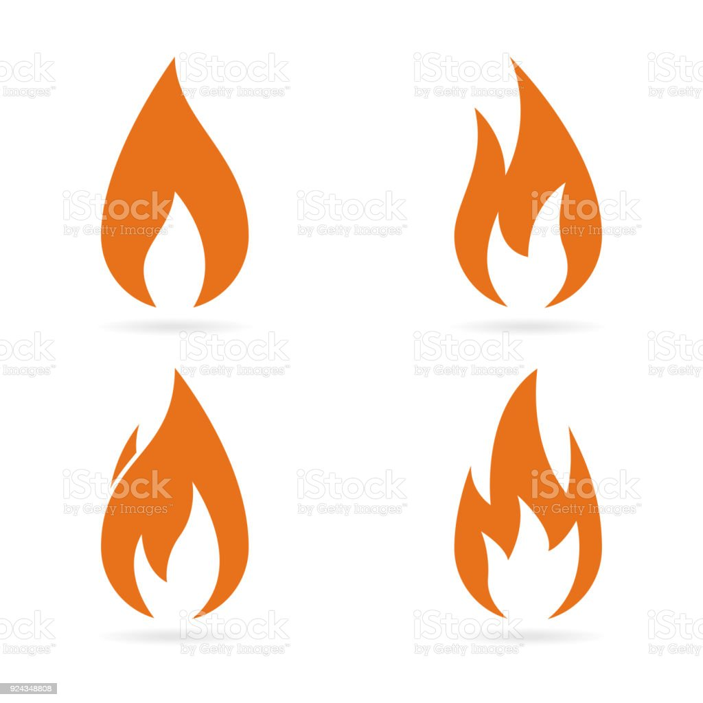 Fire flames icons set. Vector