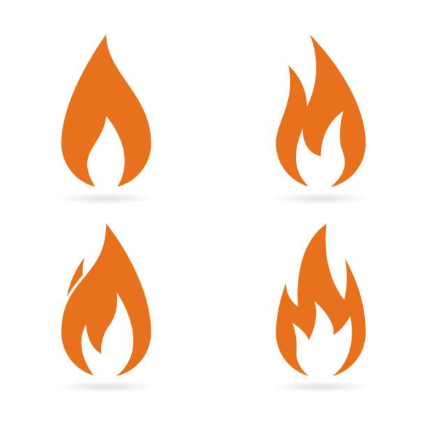 bildbanksillustrationer, clip art samt tecknat material och ikoner med elden flammar ikoner set. vektor - flames