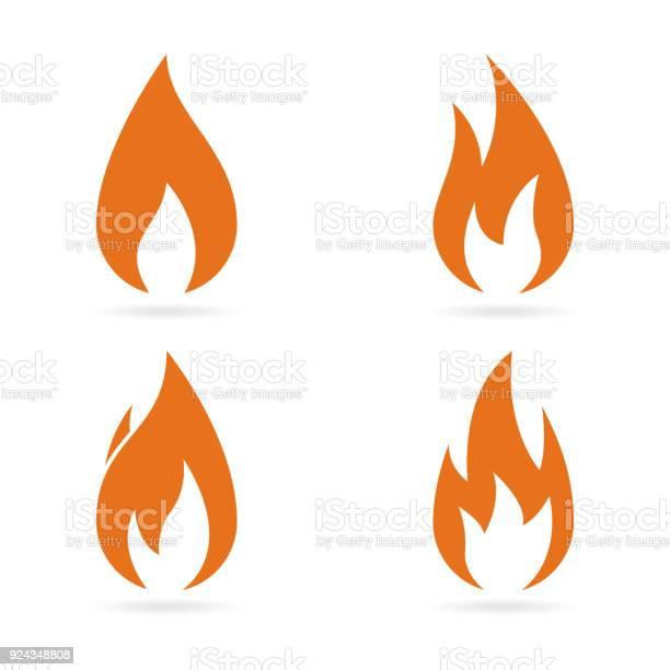 Feu Flammes Ensemble Dicônes Vector Vecteurs libres de droits et plus d'images vectorielles de Abstrait