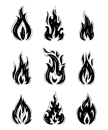 Ensemble Vectoriel Fire Flames Icons Dessin à La Main Doodle Sketch Fire Flame Tattoo Dessin Noir Et Blanc Vecteurs Libres De Droits Et Plus Dimages