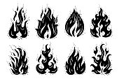 Fire Flames Icons Vector Set. Hand Drawn Doodle Sketch Fire Flame Tattoo Silhouettes Black and White Drawing